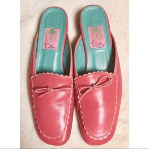 Lilly Pulitzer Pink scalloped leather mules